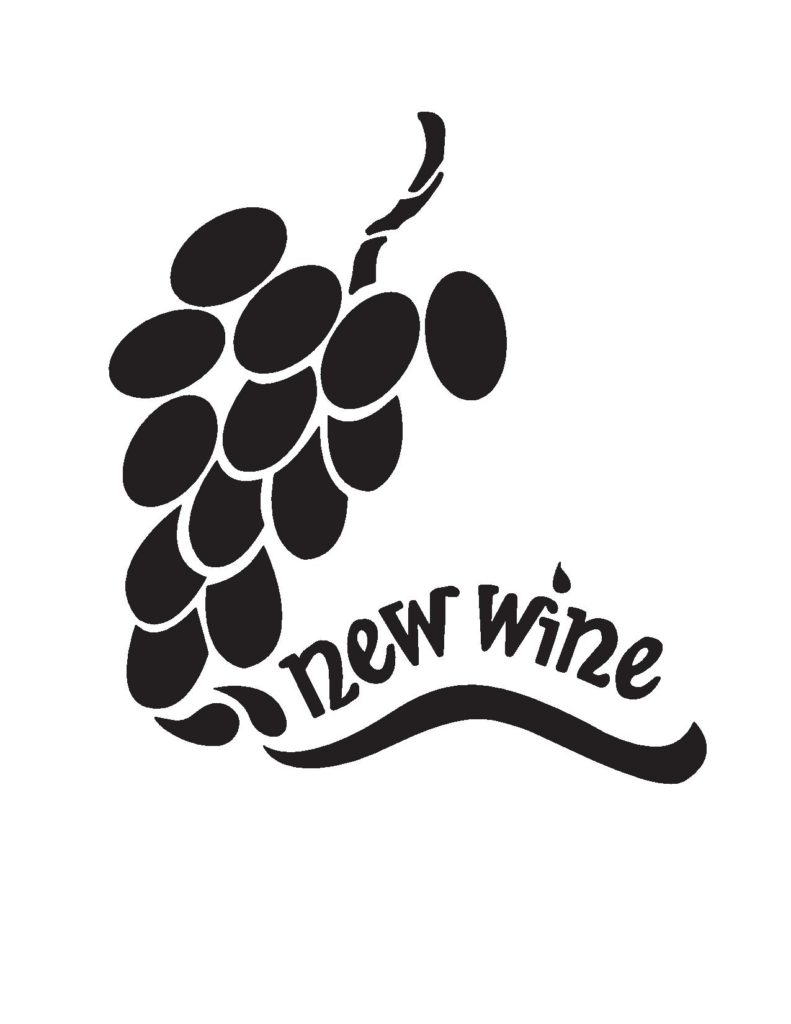 "A black bunch of grapes on a white background with the text ""new wine"""
