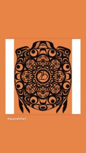"""West Coast Indigenous art, black on an orange background, with """"215"""" in the middle of the circle, supported. Art by Chase Gray, for non profit/ educational use only. awww.gaysalishart.com"""
